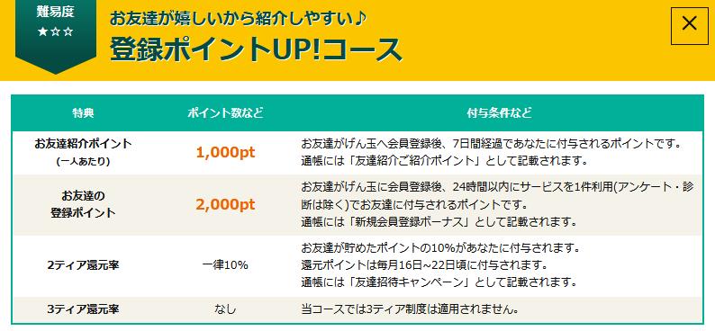 げん玉登録ポイントUP!コース